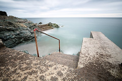 The Men's II ... (fotobyanna) Tags: greystones cowicklow photography longexposure themensbathingplace annaorourkephotography2017 sea sand rocks irishcoast steps handrail olddivingboard cambrianrocks sky irishsea picturesque serene