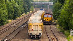 DB Cargo Class 66/0 no 66161 passes GBRf Class 66/7 no 66727 at Tupton on 06-07-2017 (kevaruka) Tags: tupton tuptonbridge chesterfield claycross class66 class59 59003 derbyshire england trains train britishrail networkrail railfreight railway telephototrains telephoto flickr frontpage thephotographyblog ilobsterit countryside summer 2017 july sun sunshine sunny sunnyday canon canoneos5dmk3 canon5dmk3 canonef100400f4556l 5d3 5diii 5d 5dmk3 yellow blue green colour colours color colors 66161 66727