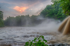 Upper Falls Sunrise (tquist24) Tags: cataractfalls hdr indiana millcreek nikon nikond5300 outdoor uppercataractfalls clouds geotagged longexposure mist morning nature river rocks sky tree trees water waterfall spencer unitedstates sunrise