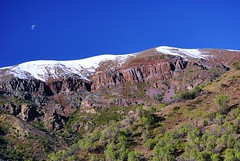 Hello Earth. Hello Moon (isabellaseagull) Tags: mountains landscape chile cordillera composition sky moon snowy peaks