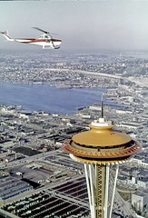 Throwback Thursday! Space Needle during World's Fair, 1962 (Seattle Department of Transportation) Tags: seattle sdot transportation tbt throwbackthursday rememberwhen historic municipal archives space needle center worlds fair century 21 galaxy gold aerials planes airplanes 1960s lake union orange 1962
