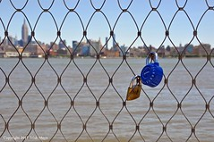 Hudson River Locks (Trish Mayo) Tags: fence combinationlock locksoflove lovelocks hudsonriver empirestatebuilding