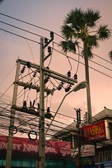 Paradise obscured (Sean Lowcay (sealow08)) Tags: panasonic panasonicgf1 thailand city asia people asian citylife street streetlife streetphoto streetphotography streetscene cityscene phuket sunset palmtree decay urban