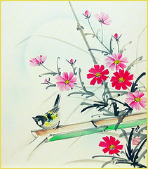 Cosmos and tit (Japanese Flower and Bird Art) Tags: flower cosmos bipinnatus asteraceae bird tit paridae isao akita nihonga shikishi japan japanese art readercollection