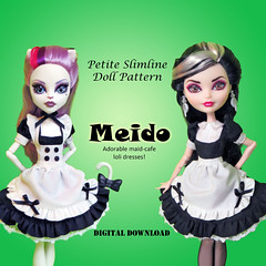 Meido aka Maid Cafe type Lolita uniforms (RequiemArt.com) Tags: meido maid cafe sweet lolita doll clothes patterns monster high ever after petite slimline dc super hero girls