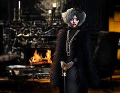 Madam Lestrange . (Venus Germanotta) Tags: secondlife fashion fierce model pose style oldlady couture feathers refined mysterious fancy elegant rich gray grey mansion fireplace glow jewelry experience coat chic glamorous aesthetic lighting perspective dark edit photoshop design graphicdesign