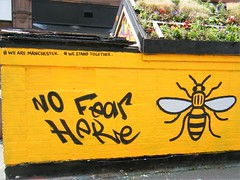 Manchester - No fear here - we are Manchester, we stand together - BEE LOGO 🌼🌺🌸TRIBUTE (rossendale2016) Tags: iconic clever art street quarter northern cowards against tribute brave photogenic fantastic statement yellow logo bee fear no together stand we manchester stevenson square