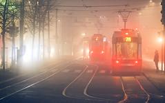 Foggin' Christmas (trm42) Tags: tram sumu aamu winter finland moody joulu helsinki suomi red morning ratikka spora wintermorning olympusomd finnishwinter fog visibility foggymorning em1mk1 christmas