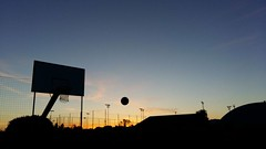 The best nights (viola.v94) Tags: basketball pallacanestro sunset colorful shades shadows clouds sport silhouette play games summer samsung original love perspective ball