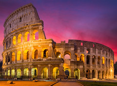 Colosseum (DaLiu_) Tags: coliseum rome roman gladiator romancenturion italy awe architecture yellow history summer sunrisedawn italianculture oldruin sunset amphitheater atmosphere atmosphericmood backlit capitalcities christianity cultures dawn emperor europe famousplace horizontal image infamous lightblue lighteffect majestic monument outdoors photography serious sky stadium sun sunbeam sunlight tourism travel traveldestinations tree twilight vacations