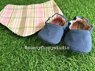 Kit Sapatinho Pantufa Jeans e Xadrez Rosa