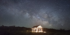 Psychedelic Shack (magnetic_red) Tags: shack building abandoned lightpainting night sky milkyway cosmos desert arch stars starrynight