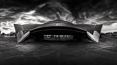 Olympic swimming hall (lja_photo) Tags: architecture architectural building urban modern reflections street city cityscape streetphotography travel tourism textures monochrome monotone monoart moody black blackandwhite bw bnw blackandwhitephoto white coque luxembourg europe sky clouds dramatic contrast hall sports