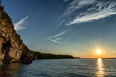 Escarpment Sunset (D J England) Tags: shadow brucepeninsulanationalpark canoneos5dmkiii niagaraescarpment brucepeninsula djenglandphotography sigma24105mmf4dgoshsma douglasjengland blueheronsunsetcruise tobermory escarpment djengland visitorcentre ontario southernontario dje georgianbay cliff sunlight
