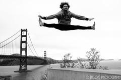 Love to fly! ([nixon]) Tags: flying jumping jump blackandwhilte bw fujifilm fujifilmxpro2 f20 23mm goldengatebridge sanfrancisco california sky light wind smile fly water bridge outdoor acrobatic acrobat athlete athletic