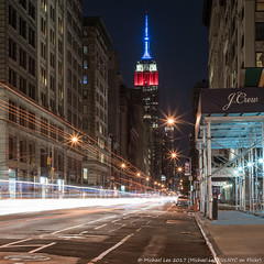 Fifth Avenue (20170702-DSC06714-Edit) (Michael.Lee.Pics.NYC) Tags: newyork esb empirestatebuilding fifthavenue chelsea unionsquare night longexposure lighttrail traffictrail square streetscene sony a7rm2 zeissloxia50mmf2