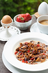 Breakfast with home made granola and berries (vas_eka) Tags: hautecuisine natural morninglightening berries cutlery milk tableware holiday granola diet morning nutrition countryside cooked tablesetting peonies design outdoor meal windowlight gourmet organic cuttedflowers homemade lifestyle beverages resort flowers decor jar cooking detox breakfast table earlymorning cereals healthy hotel garden tabledecorations seasonal food restaurant nutrients stylish blueberry raspberries strawberries wellness green fruits nourishment chef rustic