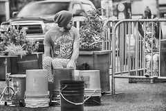 Schoolhouse Rock Meets Paw Patrol (Ian Sane) Tags: ian sane images schoolhouserockmeetspawpatrol man child bucket drummer street performer black white monochrome candid photography downtown portland oregon canon eos 5ds r camera ef70200mm f28l is usm lens