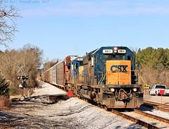 CSX Q211-21 at Graysville, GA (KD Rail Photography) Tags: csx howtomorrowmoves qualityinmotion winterseason winterweather emd electromotivedivision ge generalelectric gm sd402 c408 vehicletrain georgia trains railroads transportation d840c smalltownusa smalltown