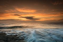 Dunure Sunset (Fifescoob) Tags: beach dunure ayr scotland ocean sea seascape coast tide sunset evening summer orange canon 5ds leefilters