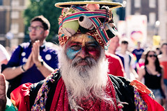 Glitterati (Sean Batten) Tags: london england unitedkingdom gb red nikon d800 58mm pride lgbt march parade city uban portrait beard