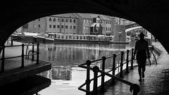 Silhouette (l4ts) Tags: westmidlands birmingham citycentre birminghamcanal broadstreetbridge gasstreetbasin silhouette canalboats narrowboats blackwhite reflections