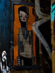 Hallo Alo (Steve Taylor (Photography)) Tags: alo art graffiti mural streetart tag black blue white yellow woman lady uk england london lines