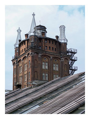 Old water tower and greenhouse (Villa Augustus) (UF 158) (AurelioZen) Tags: europe netherlands zuidholland dordrecht wantij villaaugustus hotel greenhouse industrialredevelopment urbanrenewal