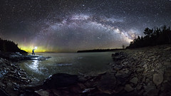 From This World To The Next (andrewpmorse) Tags: brucepeninsula brucepeninsulanationalpark ontario night nightlights nightsky stars starscape milkyway canada nationalparks aurora auroraborealis northernlights landscape lake lakehuron rocks shoreline panorama canon 6d rokanon14mmf28 longexposure shootingstar