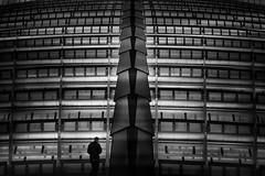 ...leshalles... (*ines_maria) Tags: leshalles paris france architecture light person urban urbanart man city urbanexploration perspective blackandwhite noiretblanc mono monochrome panasonic dmcgx8