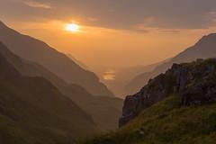 H A Z E D - C A S C A D E (elganjones1) Tags: nant peris llanberis mountains haze sunset canon 6d 1740 cymru wales elgan jones mist