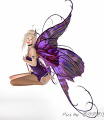 Fairy in Purple-5 (Poppys_Second_Life) Tags: popi popikone popikonesadventuresin2l popisadventuresin2l 2l secondlife virtualphotography poppy picsbyⓟⓞⓟⓟⓨ sl fairy faery purple wings