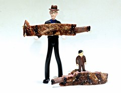 Wilber and Shorty Evans Pose With Two Barbequed Lamb Ribs (ricko) Tags: toymen toys ribs lambribs bbq meat food stilllife 164365 2017
