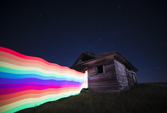 Where Light Lives (Lightcrafter Artistry) Tags: rainbow abandoned stars night space prairie longexposure nightphotography lightpainting light house