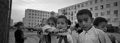 Casablanca Kids (Bert Pot) Tags: analog analogue filmphotography film kodak negativ reportage streetphotography travelphotography documentary bertpot kodaktrix trix bnw monochrome blackandwhite panorama hasselblad xpan hasselbladxpan panoramic rangefinder 45mm toypistol casablanca suburb kids maroc marocco