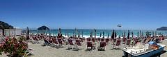 Spotorno (fotomie2009) Tags: spotorno libecciata liguria sea mare storm water beach spiaggia italy italia isola bergeggi island copacabana stabilimento balneare ombrelloni panoramica panoramic