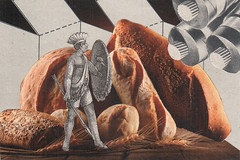 june 22nd, 2017 (kurberry) Tags: collage collageaday analoguecollage vintageephemera bread shield warrior