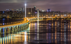 Hong Kong-Shenzhen Western Corridor (smallfour_83) Tags: landscape city water reflection river night car urban architecture cityscape road bridge building canon longexposure panoramic hongkong trial magichour tuenman corridor 70200l28ii guiding line 5dmark4
