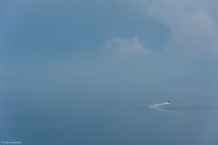 Full throttle (NikonStone (on and off)) Tags: fog ocean rib blue speed ålesund norway nikon d7100 minimalism minimalistic nature boat