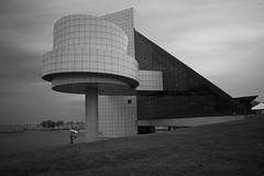 Rock and Roll Hall of Fame (+Lonnie & Lou+) Tags: longexposure ohio travel architecture sony a7r sky summer spring cleveland nisi neutral density filter blackandwhite bw clouds lake erie