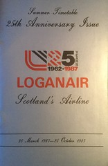 Loganair timetable Summer 1987 (calderwoodroy) Tags: scotlandsairline silveranniversary timetableimage shetland orkney belfast manchester glasgow edinburgh hebrides scottishislands scotland airlineschedules airlinetimetable timetable loganair