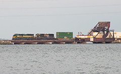 NS 1068 leading NS 25T Bay View, OH (Chicago Line Railfan) Tags: ns 1068 25t sandusky bay bridge view oh ohio nw lake erie heritage unit norfolk southern