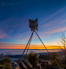 _MG_3024_Cathedral Trig Point_Flickr (Andrewhg photo) Tags: cathedral range state park taggerty victoria australia mountain rugged dusk ridge line peak parks burnt trees oceania mountains landscape hike hiking danger dslr canon rock rocks rocky clouds cloudy dark sunlight light bush walking 1740mm 7d high dynamic up climbing frames panorama panoramic manfrotto pano stitched sunrise