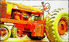 watercolor imagery of an old Allis-Chalmers tractor (delmarvausa) Tags: farming tractor farmequipment oldtractor easternshorethreshermensassociation tractors delmarva vintage old oldtractors antique orange allischalmers vintagetractor allischalmerstractor orangetractor