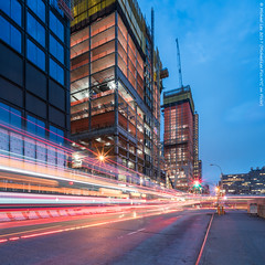Hudson Yards (20170617-DSC04228-Edit) (Michael.Lee.Pics.NYC) Tags: newyork hudsonyards 11thavenue construction farwestside night twilight bluehour traffictrails lighttrail composite sony a7rm2 voigtlanderheliar15mmf45
