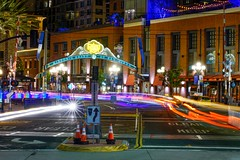 S.D. Gas Lamp District (SLR_guy) Tags: slrguy sandiego sonya99ii night cars pedicabs streaks starburst gaslamp fun tamron90mmf28dimacro