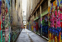 Graffiti Art Lane (missgeok) Tags: graffitiart laneways streetart melbourne victoria australia outdoor street art graffiti paintings colourful interesting perspective narrowstreets leadingline textures unique