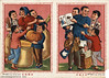 Sturdy crops and abundant harvests ensure a happy life (chineseposters.net) Tags: china poster chinese propaganda 1953 man woman children peasant sack basket pumpkin book thermos
