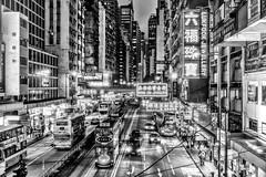 Hong Kong (drasphotography) Tags: hongkong hong kong china streetphotography nightshot night dingding monochrome monochromatic monotone blackandwhite bw schwarzweis sw bianconero bn strasenfotografie drasphotography travel travelphotography reise reisefotografie city cityscape urban nikon d810 nikkor2470mmf28