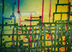 Ensnared (S's images) Tags: littlehampton way out there back garden paint runs abstracts yellow green blue red
